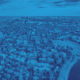 city of cambridge aerial view with blue tint